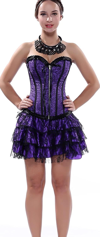 Blidece Womens Fashion Satin Overbust Waist Cincher Boned Corset with Tutu Skirt Dress