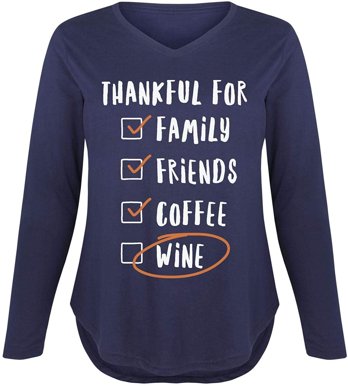 Thankful Family Friends Coffee Wine - Ladies Plus V-Neck Long Sleeve Tee
