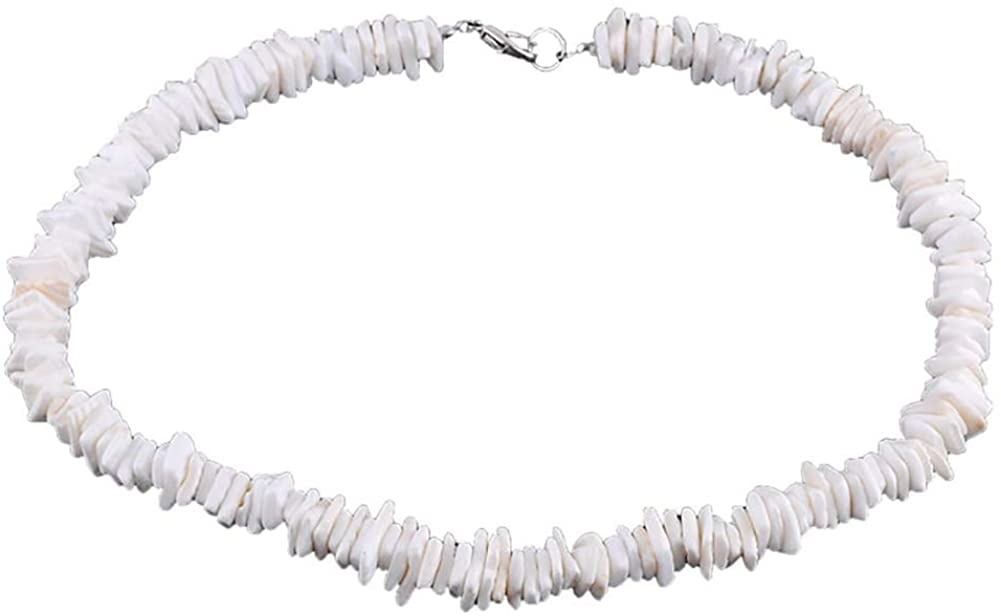 Puka Shell Necklace Bracelet Set for Women Girls,Seashell Chip Choker Necklace,Summer Beach Jewelry