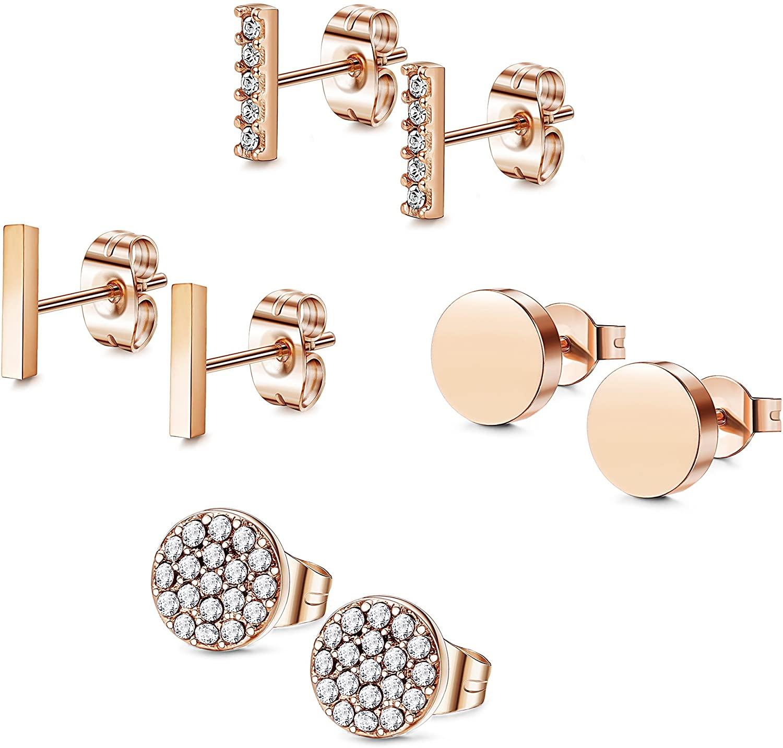 FIBO STEEL Stainless Steel CZ Bar Stud Earrings for Men Women