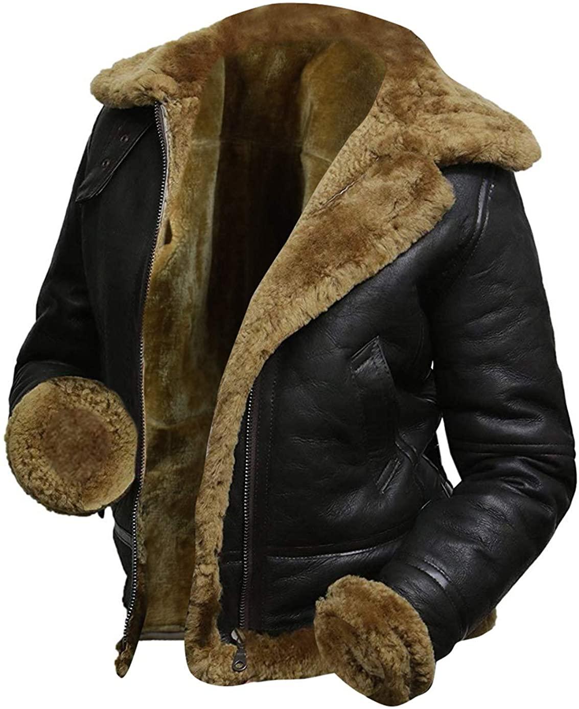 III-Fashions B3 Fur Womens Genuine Leather Aviator Flight Sheepskin Shearling Bomber Jacket