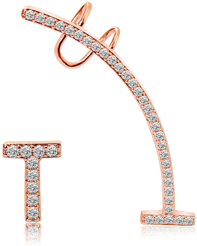 CISHOP Asymmetric T Bar Ear Cuff Climber Crawler Earrings Simplify Crystal CZ Stud Earrings