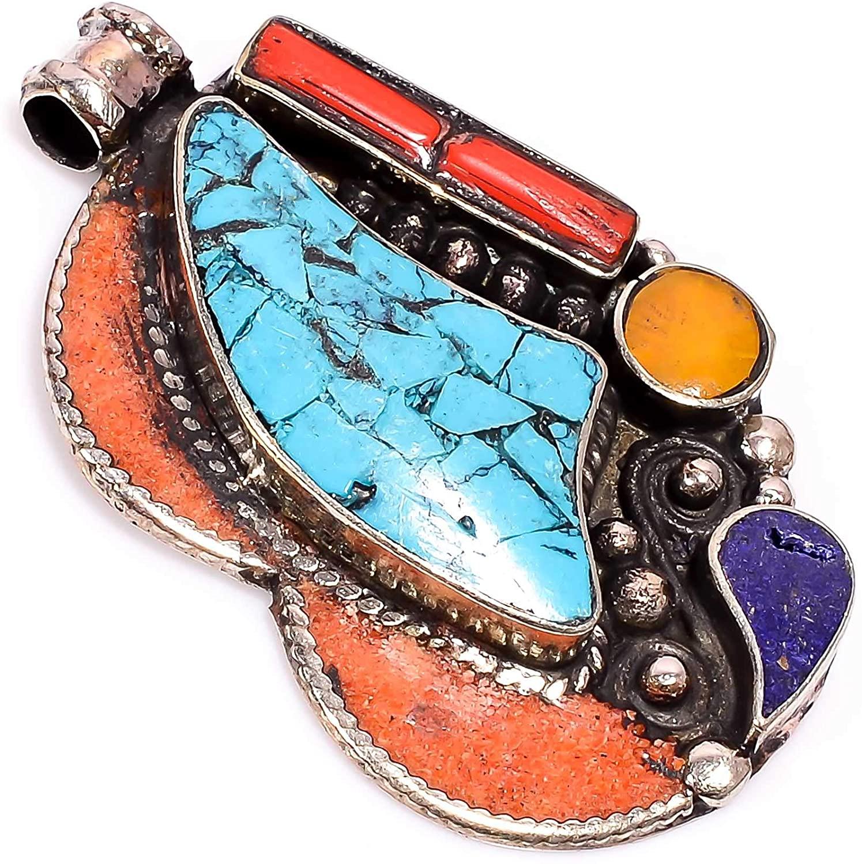 kanta incorporation Turquoise Lapis Lazuli Coral Gemstone Tibetan Handmade Jewelry Pendant 2