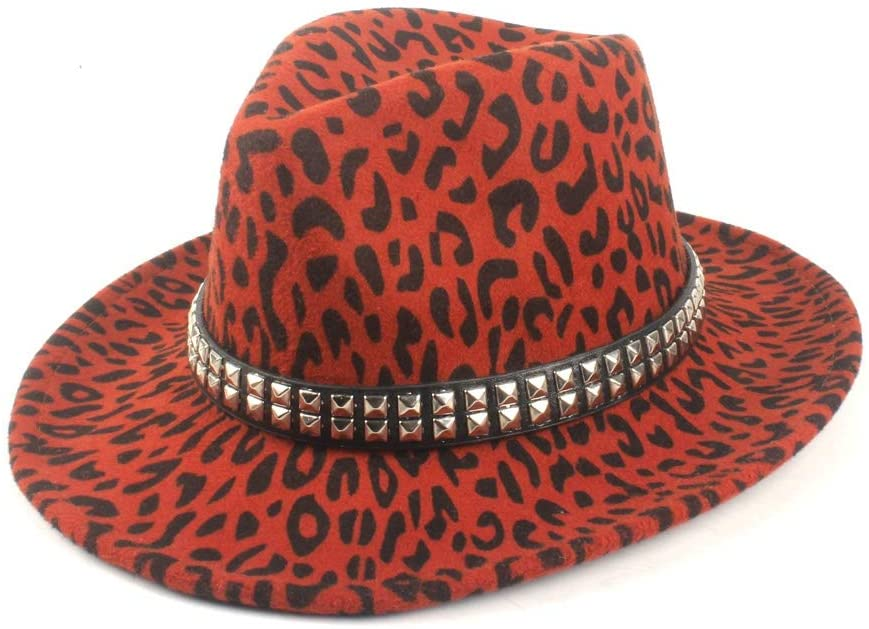 SHENLIJUAN Panama Unisex Autumn Winter Fedora Hat Wool Polyester Fashion Rivet Belt Punk Style (Color : Brick red, Size : 56-58CM)