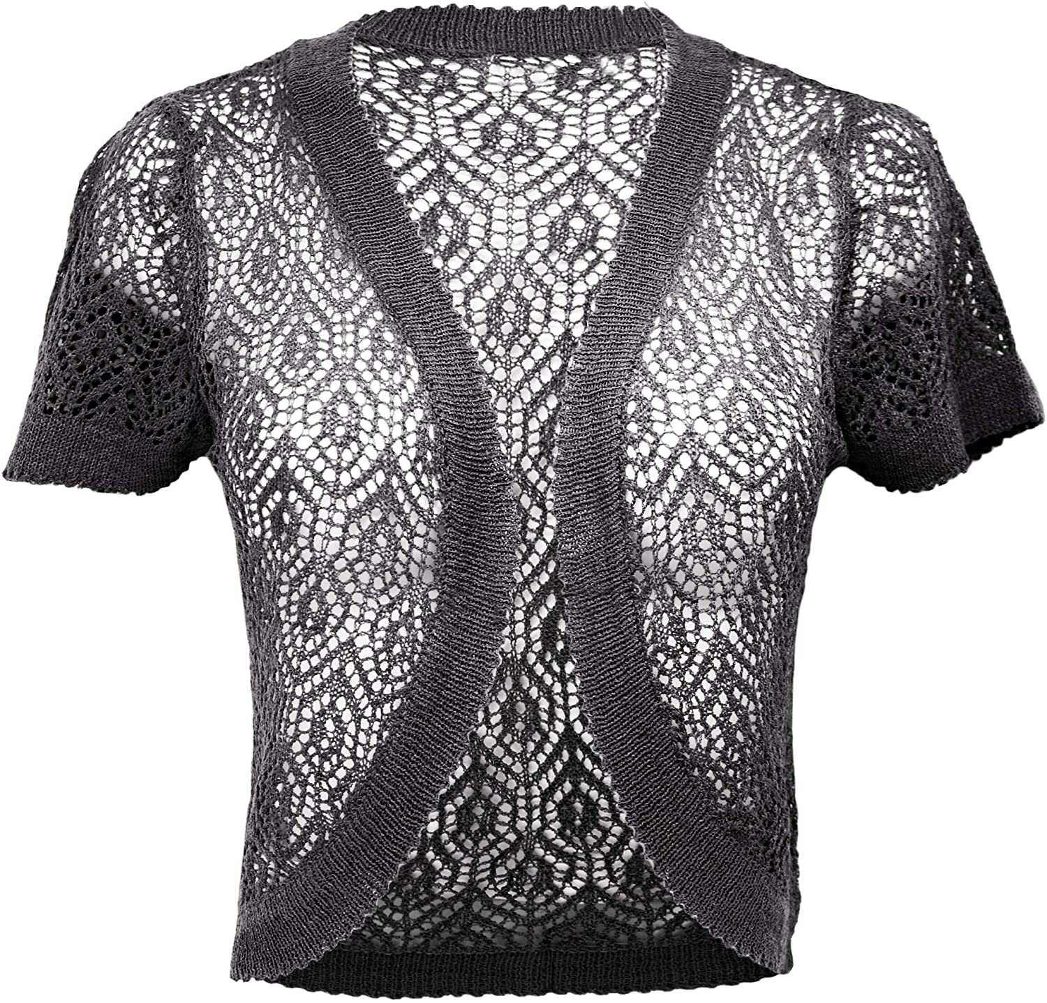 KMystic Short Sleeve Knitted Crochet Shrug Bolero Crop Top