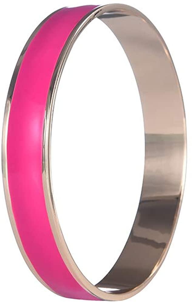 Fuchsia Enamel Bangle for Women High Polished Steel Bangle Bracelet Fashion Jewelry