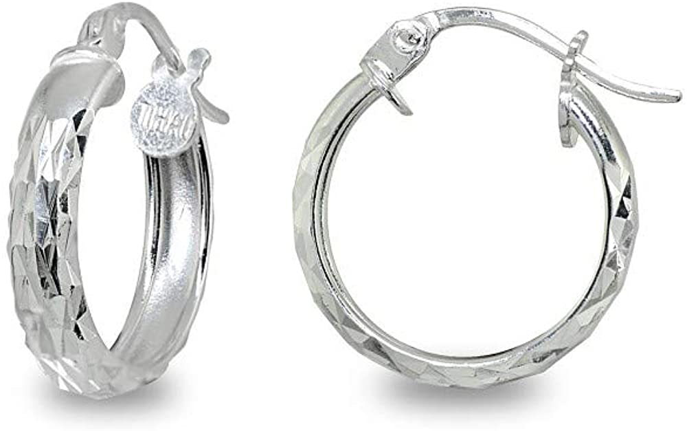 Sterling Silver 3mm High Polished & Diamond-Cut Lightweight Click-Top Round Hoop Earrings, Choose a Size or Hoop Set