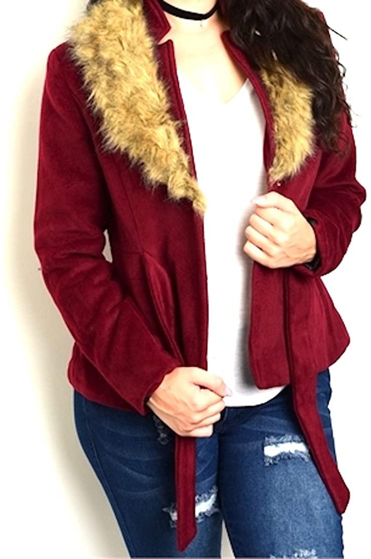 Final Sale! NO Returns! Plus Size Wool Blend Faux Fur Collar Belted Coat Jacket