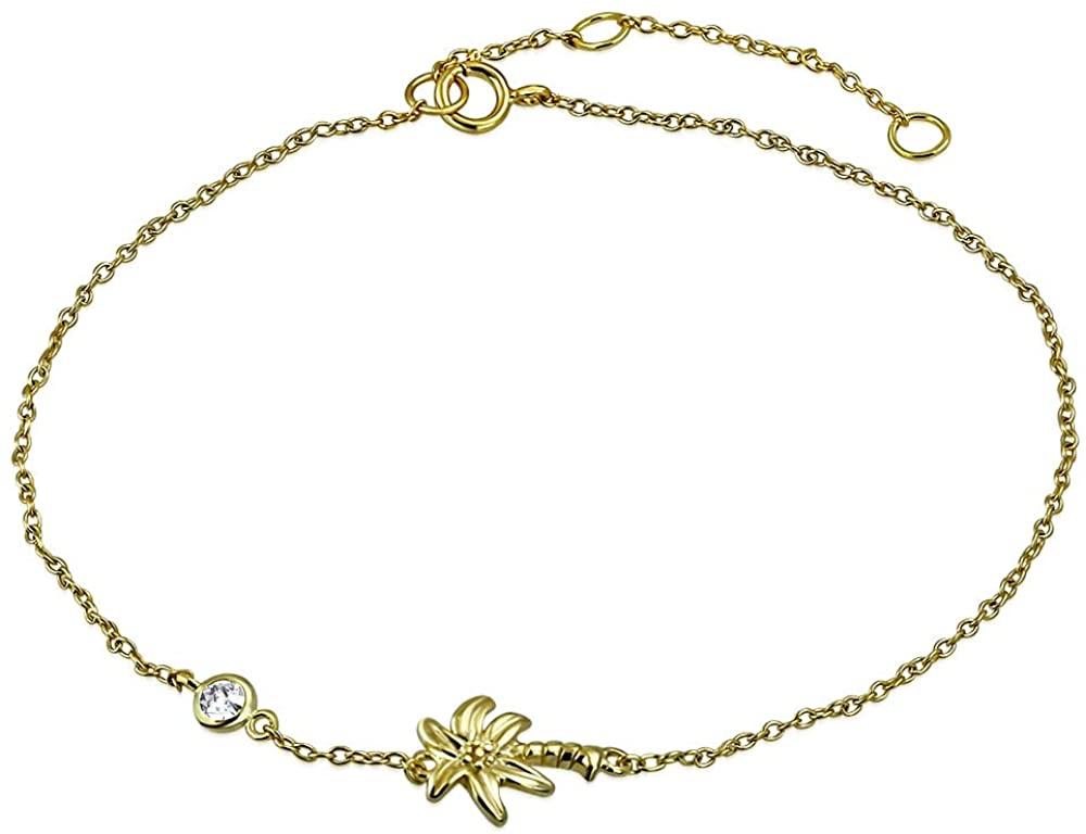 925 Sterling Silver Bezel-Set CZ Palm Tree Womens Link Chain Anklet Bracelet