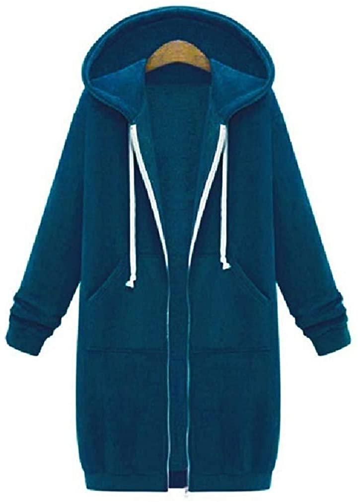 Jhsxydgy Women Casual Solid Mid Length Zip Front Hoodie Hooded Sweatshirt Trench Coat Jacket