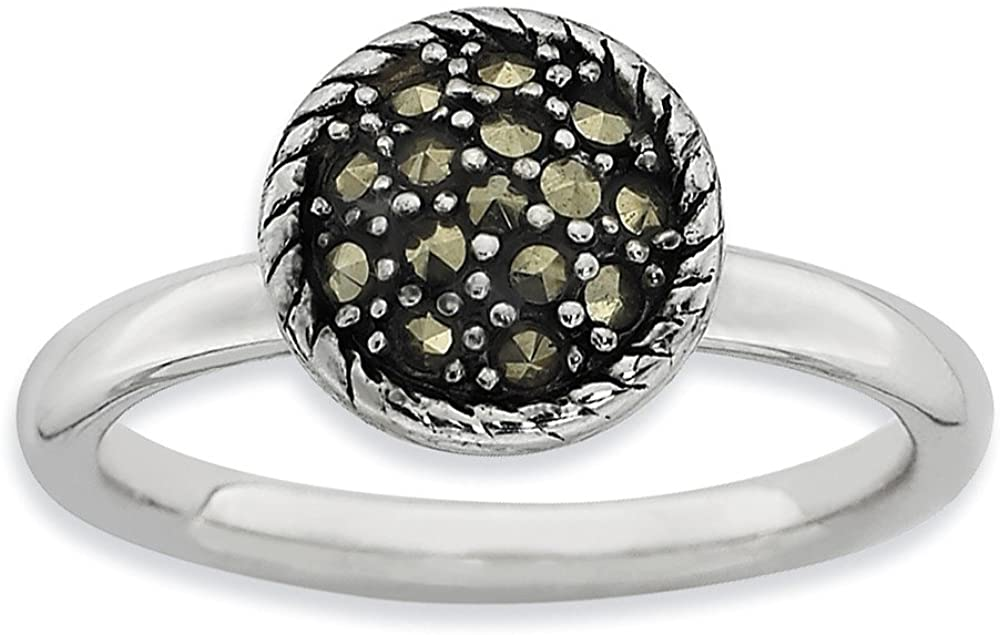 Marcasite Collection Rings Stackable Sterling Silver Stackable Expressions Marcasite Ring Size 5