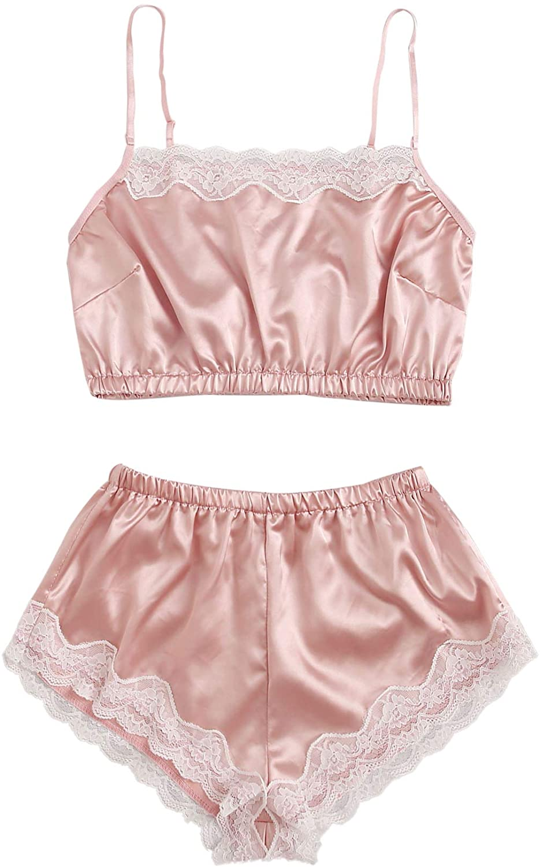 SheIn Women's Sleepwear Sexy Lace Trim Lingerie Satin Pajamas Cami Shorts Set
