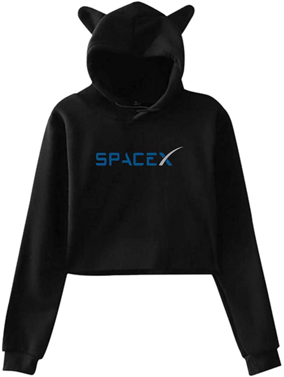 Spacex NASA Breathable Cat Ear Hoodie Sweater Women's Long Sleeve Sweater Pullover Top