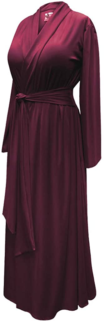 Sanctuarie Designs Plus Size Burgundy/Wine Retro Robe 1930's-40's Hollywood Softest w/Attached Belt