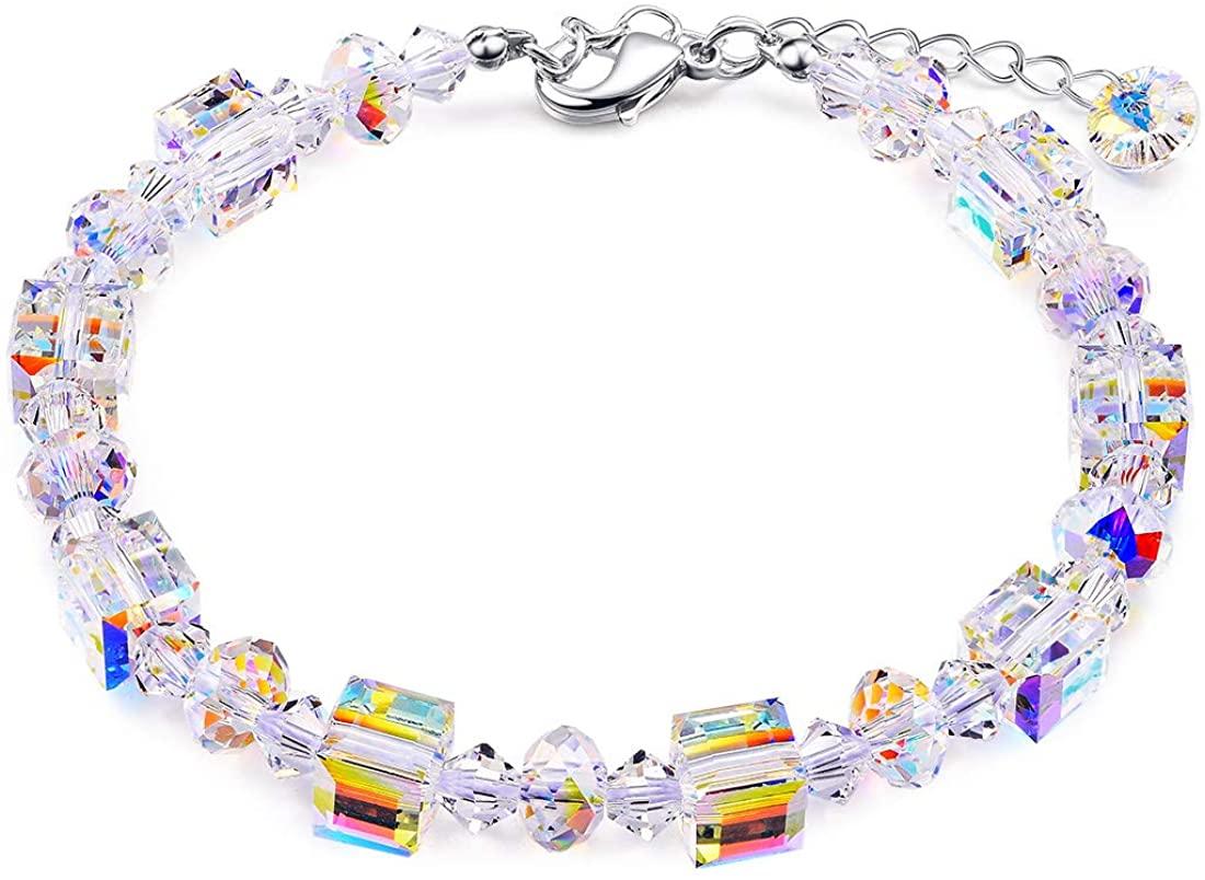 Cat Eye Jewels Made with Blue CZ Swarovski Crystal Heart Bracelet Sterling Silver Cubic Zirconia Tennis Adjustable Bracelets for Women Girls Box
