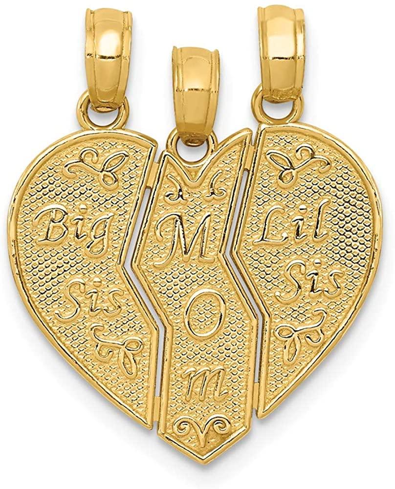 14k Yellow Gold Break-apart Big Sis, Mom, Lil Sis Charm