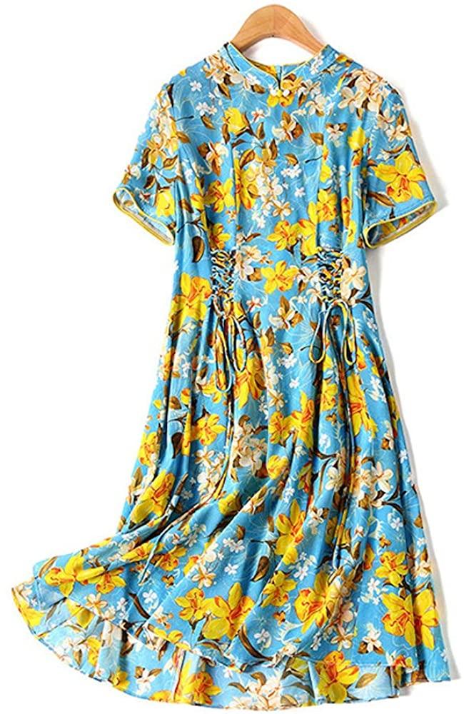 HangErFeng Silk Dress Printing Chinese Element Qipao Short Sleeves Improving Cheongsam Skirt