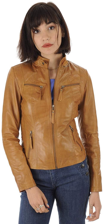 Women Stylish Genuine Lambskin Motorcycle Biker Leather Jacket WJ 15