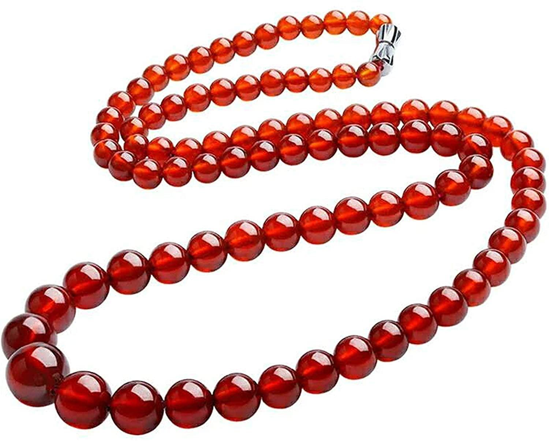 DUOVEKT Natural Orange Garnet Necklaces for Women Men Crystal Gemstone DIY Round Beads Stretch Fashion Necklace Jewelry 4.5-10mm