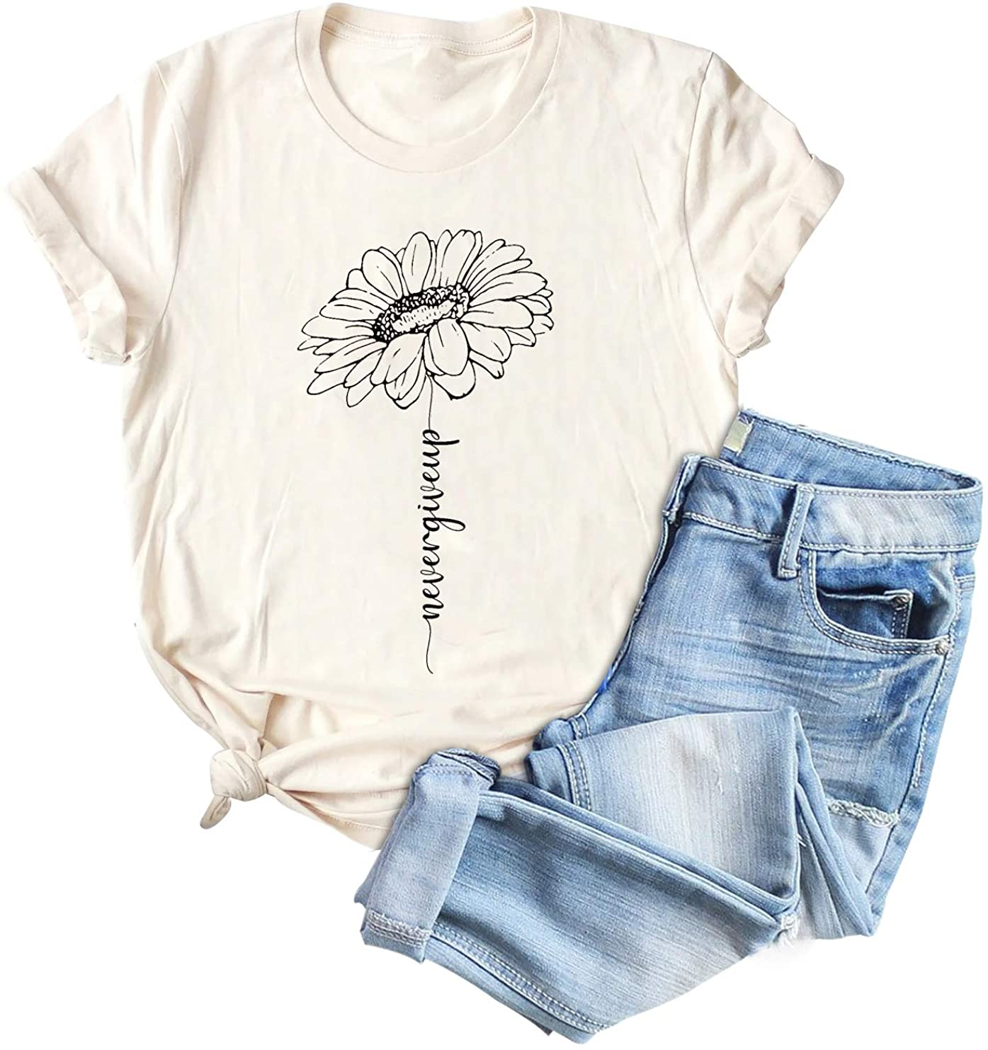 Sunflower Graphic T Shirts for Women Never Give Up Letter Print Short Sleeve Tee Tops (Large)