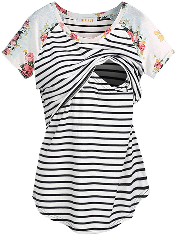 NIPINUS Women's Raglan Sleeve Maternity Nursing Tops Striped Breastfeeding T-Shirt