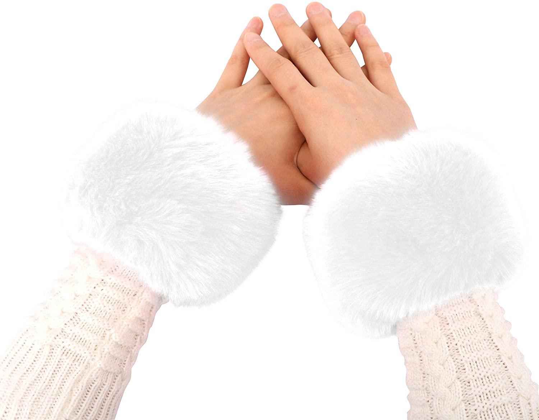 Simplicity Womens Winter Faux Fur Short Wrist Cuff Warmers