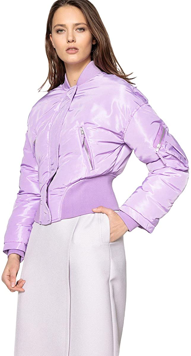 La Redoute Collections Womens Cropped Bomber Jacket with Satin Finish