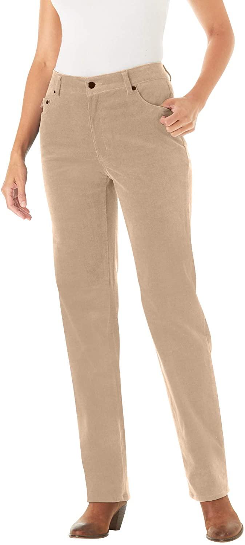Woman Within Womens Plus Size Corduroy Straight Leg Stretch Pant