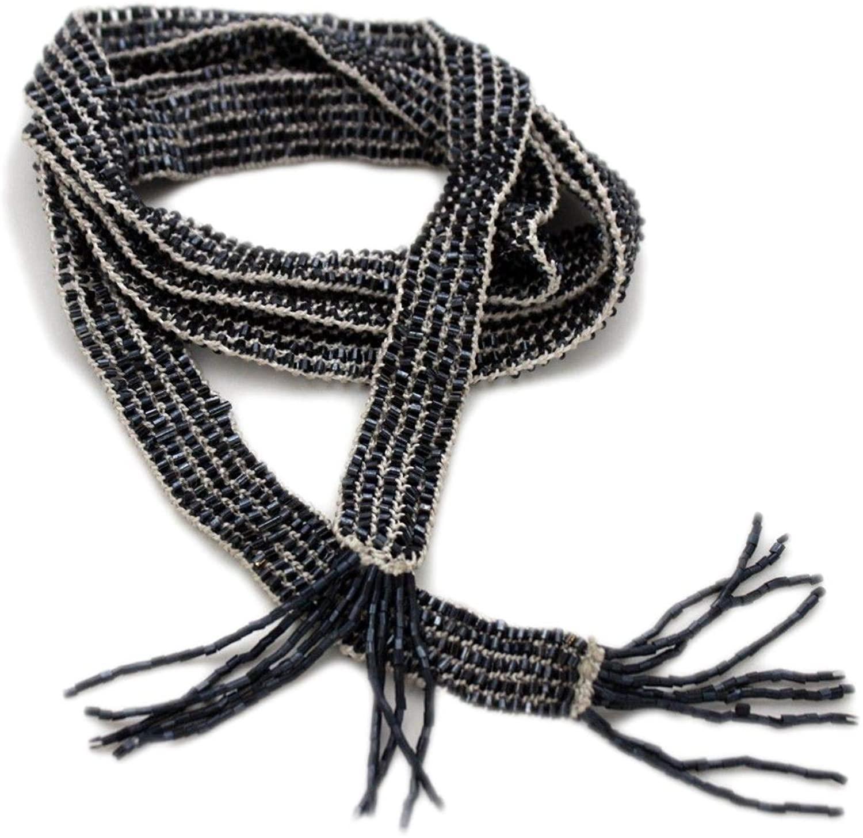 TFJ Women Fashion Belt Hip Waist Fabric Beads Sash Scarf S M L Dark Midnight Blue