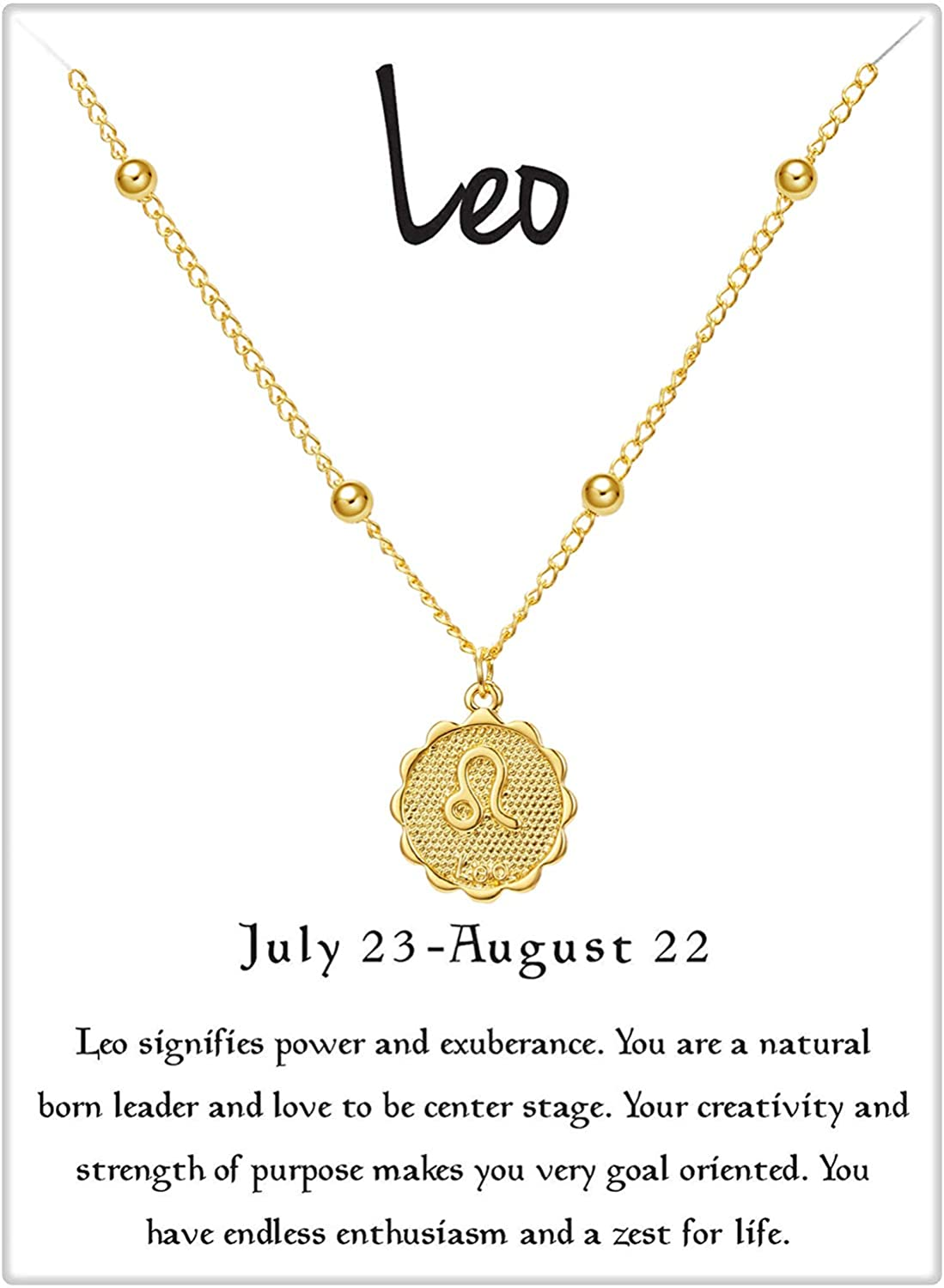 Fesciory Women 12 Constellation Zodiac Pendant Necklace Gold Alloy Horoscope Astrology Chain Jewelry Gifts for Girls