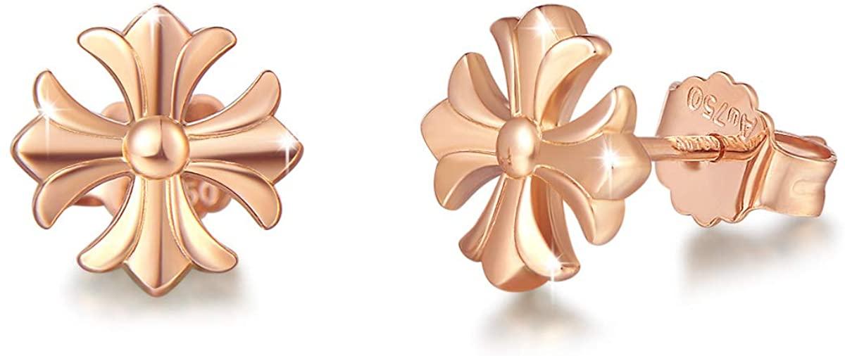 FANCIME 18K Real Rose Gold Four-leaf Clover/Cross/Geometric Stud Earrings Small Dainty Earrings Fine Jewelry for Women Girls
