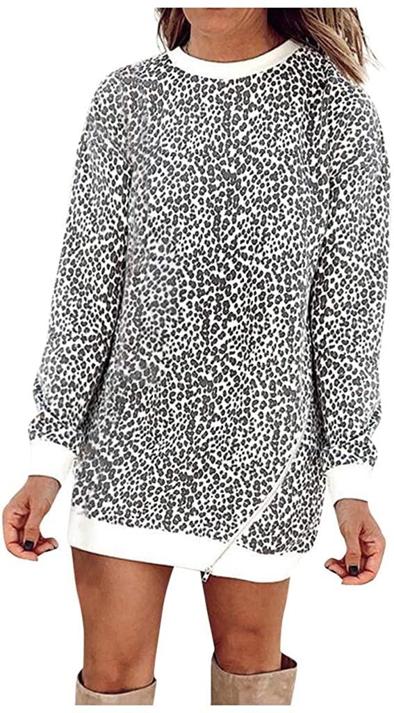 Kangma Women's Leopard Patchwork Long Sleeve Sweatshirt Pullover Dress Shirts Top Blouse