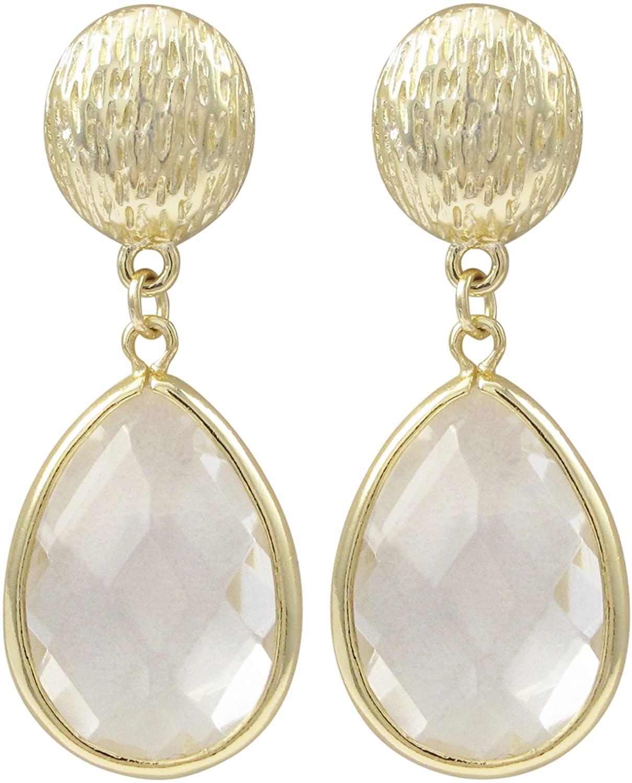 GRACE HARPER Gold Finish White Cubic Zirconia Teardrop Dangle Earrings