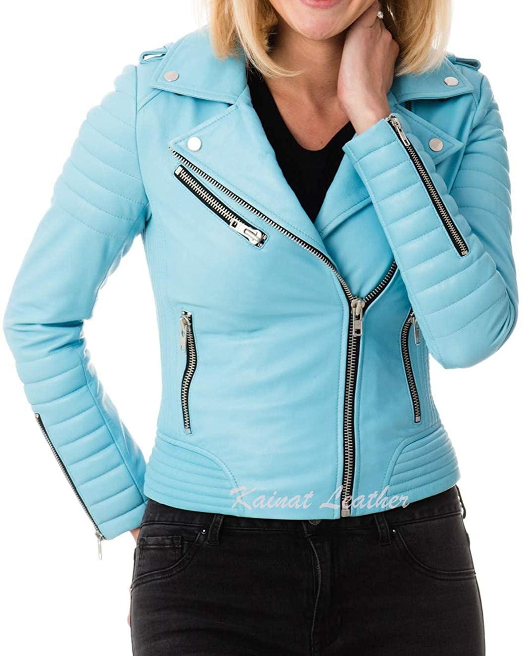 KAINAT Women's Lambskin Leather Craft Bomber Biker Jacket 18