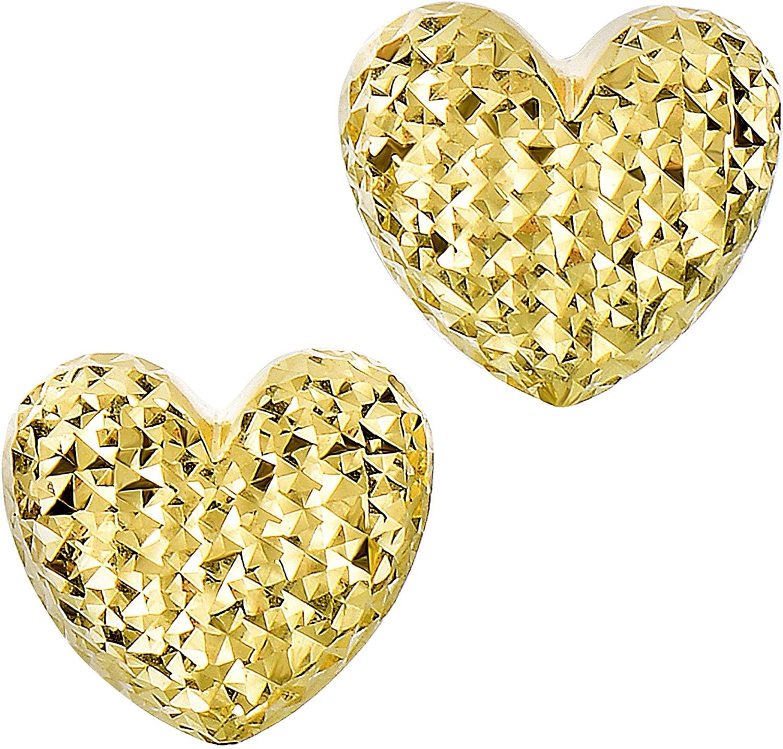 14k Gold Diamond Cut Puffy Heart Stud Earrings, 10 x 11mm