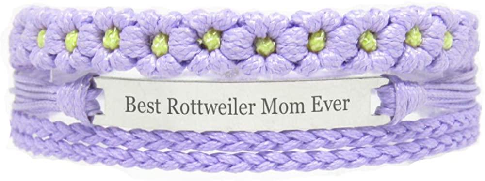 Miiras Pet Lover Engraved Handmade Bracelet for Women - Best Rottweiler Mom Ever - Purple FL - Made of Braided Rope and Stainless Steel - Gift for Rottweiler Mom