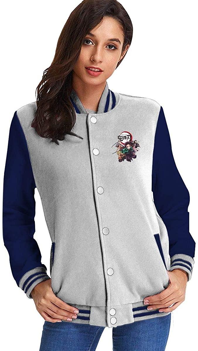 Kimetsu No Yaiba Demon Slayer Women's Fashion Stand Collar Casual Jacket Baseball Button Jacket Coat Sweater