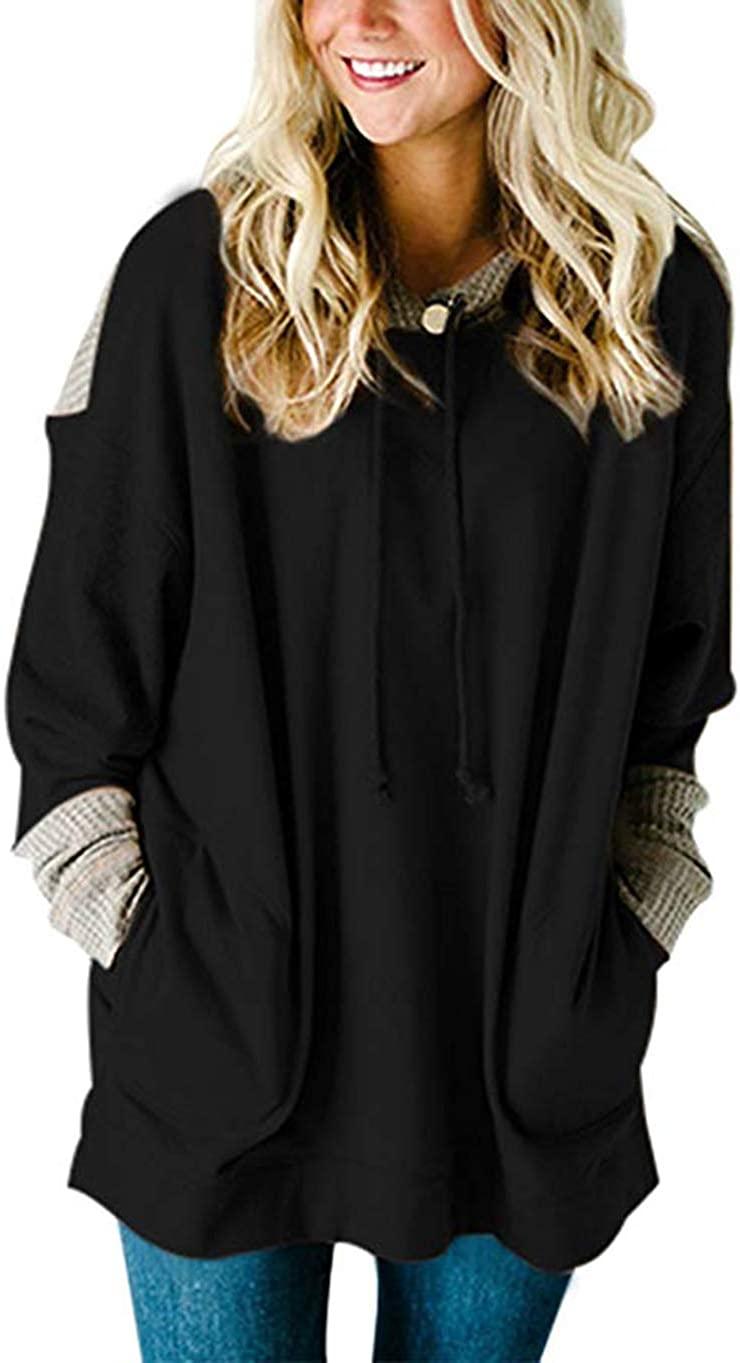 SEBOWEL Women's Waffle Knit Splice Strappy Long Sleeve Hoodies Sweatshirts with Pocket Plus Size