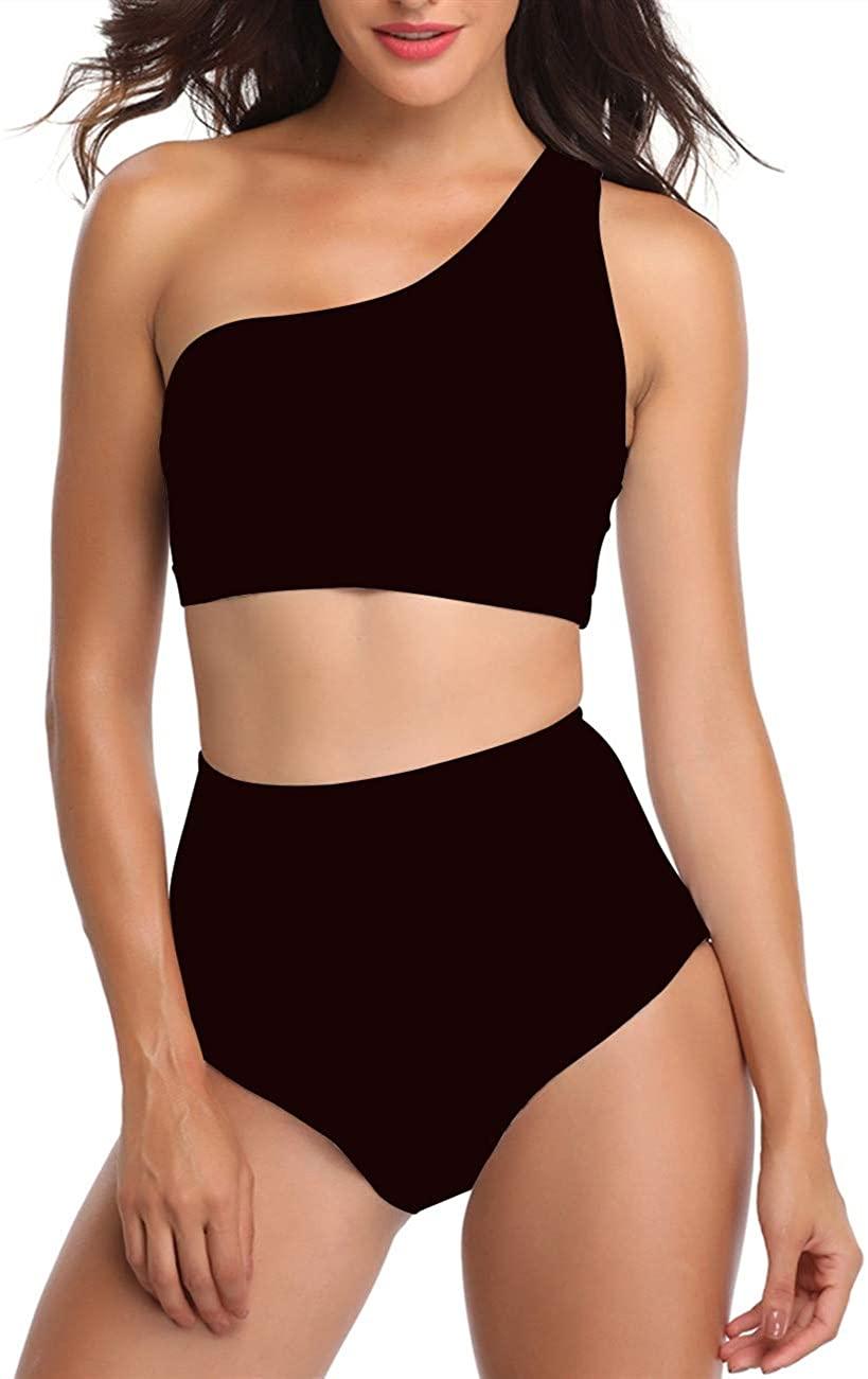 Gnpolo Womens One Shoulder Swimsuits High Waisted Bikini Two Piece Bathing Suits Swimwear