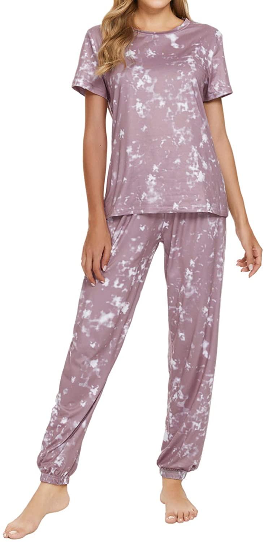 Chelsil Women's Satin Pajamas Set Floral Button Down Sleepwear Short Sleeve with Pants Nightwear Loungewear