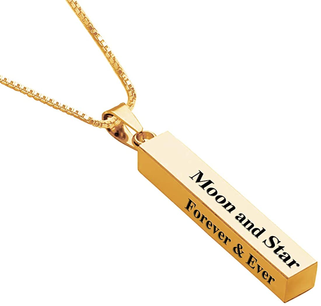 EVER2000 Personalized 3D Vertical Bar Necklace, Custom Necklace Engraved with Any Name Pendant Jewelry Gift