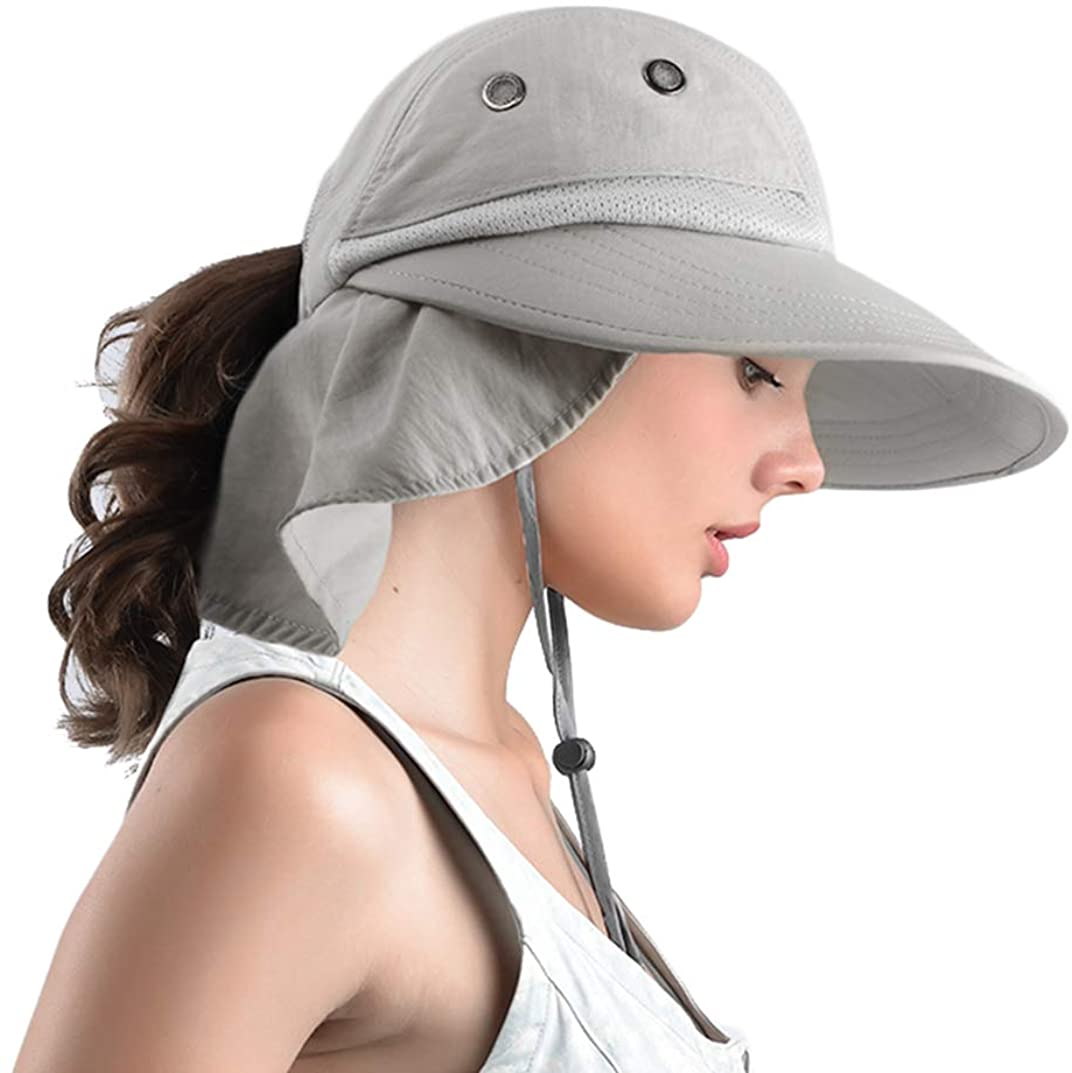 Women's Sun Hats Wide Brim Ponytail Sun UV Protection Fishing Hat Beach Hat with Neck Flap
