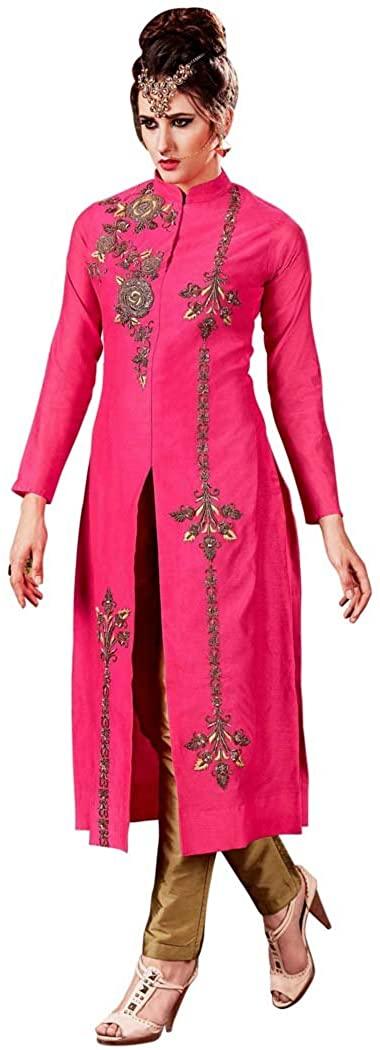 INMONARCH Womens Pink Silk Party Wear Salwar Kameez SLRD11005A