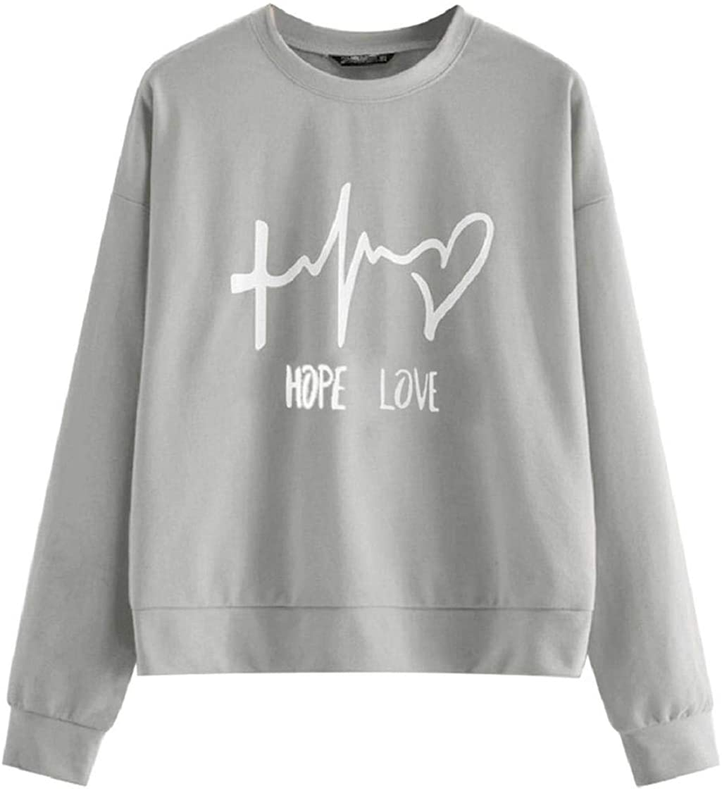 Womens Heart Beat Print Casual Tops Loose-Fit Pure Color Hope Love Volunteer Shirts Long Sleeve Pullover Blouses Tees