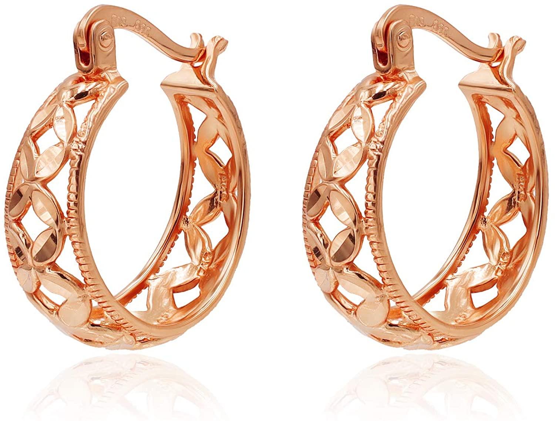 River Island Sterling Silver Diamond-Cut Filigree Hoop Earrings Size 17mm