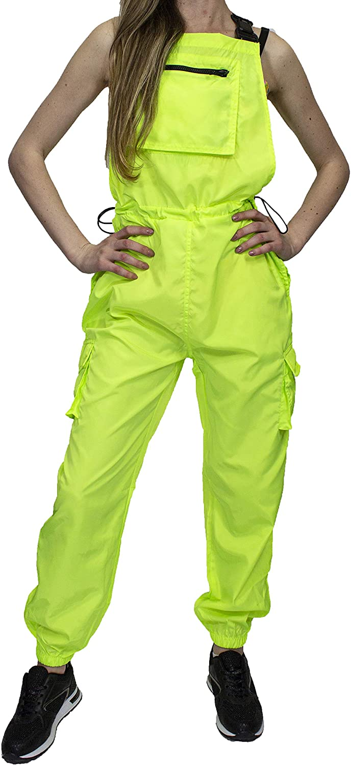 FLIRTY WARDROBE Shell Suit Festival Dungaree Playsuit Tracksuit Womens Pinafore Retro Outfit New[Neon Green,Medium (UK 10)]
