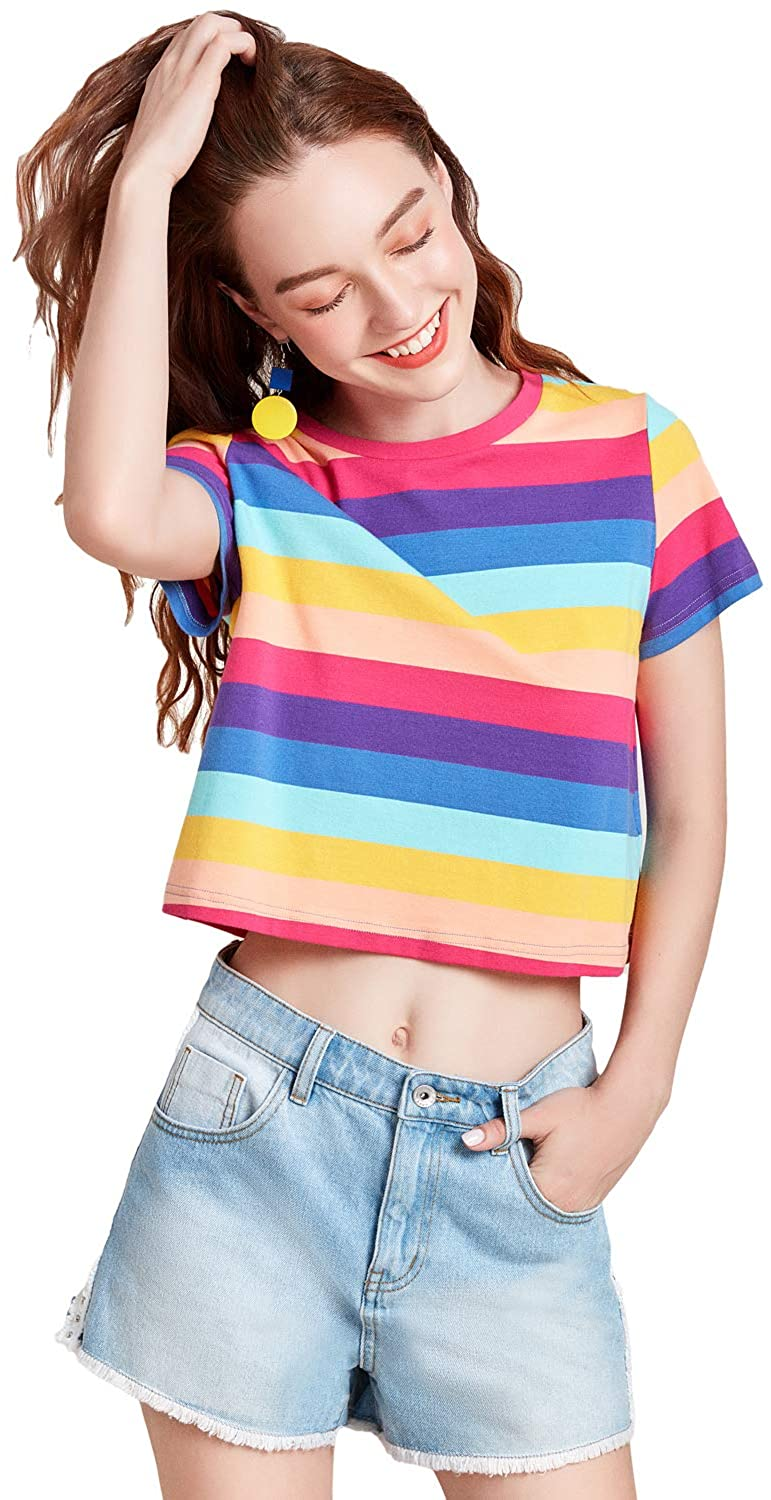 Artka Women's Cropped Rainbow Striped T Shirt Casual Top