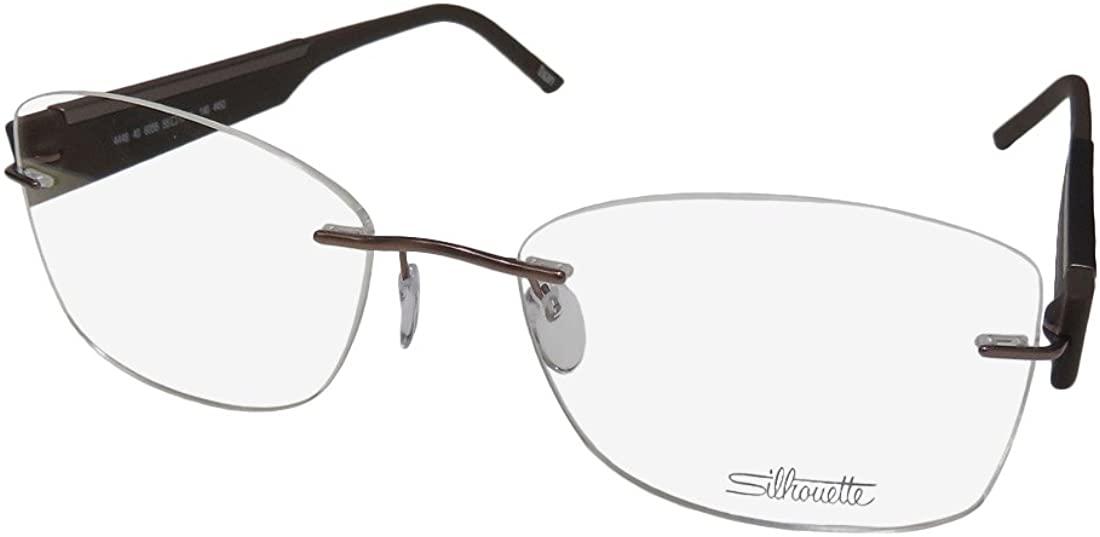 Silhouette 4448 Womens/Ladies Designer Rimless Titanium Eyeglasses/Eyewear (55-17-140, Brown)