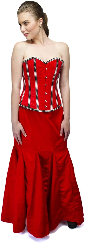 Red Velvet Check Strip Burlesque Plus Size Corset Waist Cincher Overbust Top