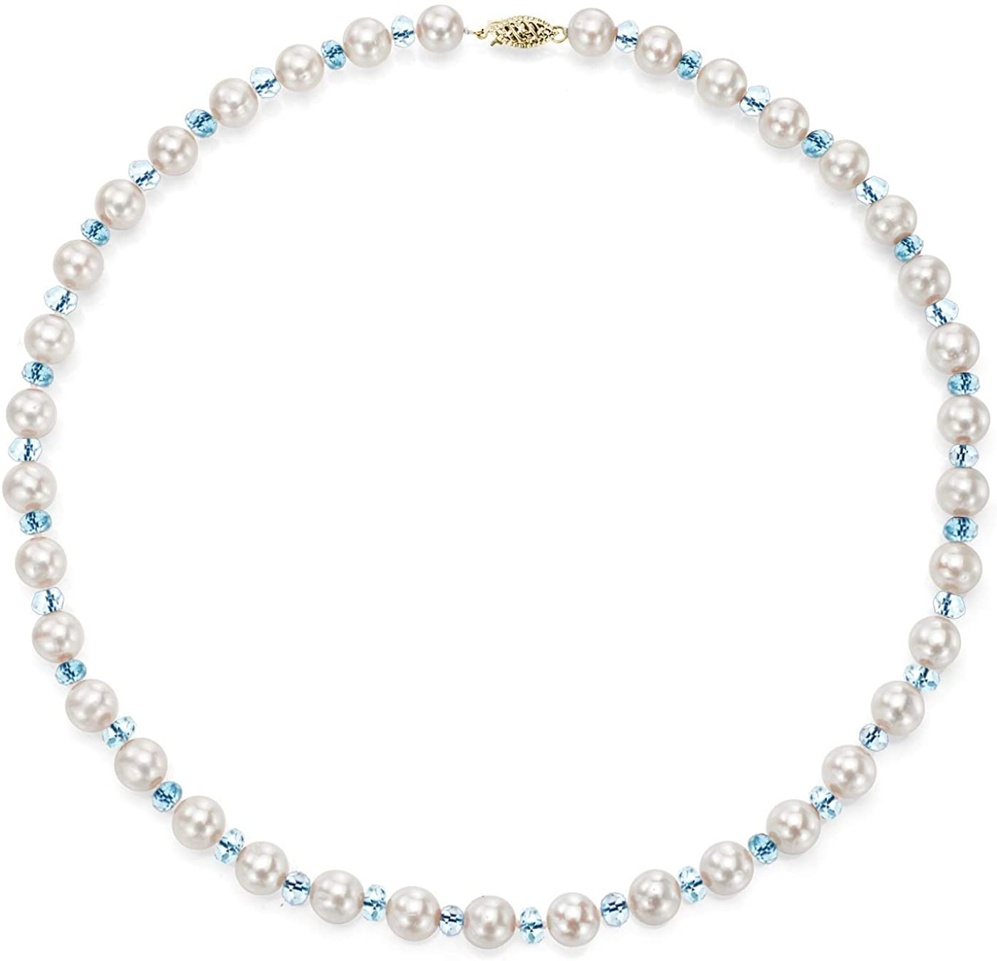 14K Yellow Gold Freshwater Cultured White Pearl Necklace Simulated Gemstone Jewelry for Women 18 inch (Choice of Length)